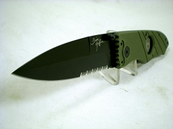 Hoffner 3.5 CQB/CT Fight Folder, Olive G10, Black Partial Serrated Edge Blade