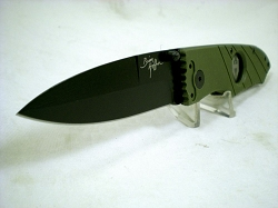 Hoffner 3.5 CQB/CT Fight Folder, Olive G10, Black Plain Edge Blade