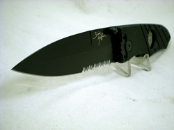 Hoffner 3.5 CQB/CT Fight Folder, Black G10, Black Combo Serrated Edge Blade